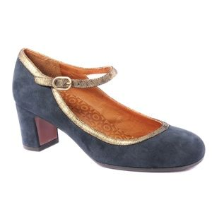 Chie Mihara Mary Jane in Grey Suede and gold